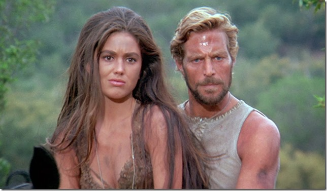 Nova (Linda Harrison) and Brent (James Franciscus)  attempt to learn the fate of Taylor BENEATH THE PLANET OF THE APES.